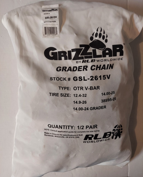 Grizzlar GSL-2615V Grader Scraper and Heavy Equipment Type OTR Ladder V-Bar Tire Chains 12.4-32 14.00-24 GRADER 14.00-25