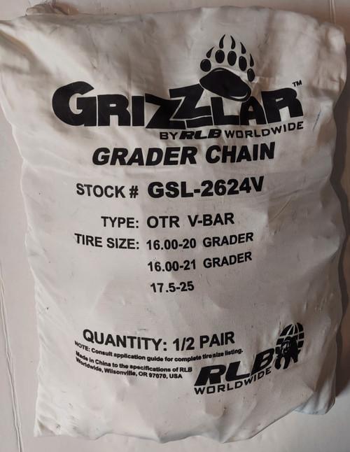 Grizzlar GSL-2624V Grader Scraper and Heavy Equipment Type OTR Ladder V-Bar Tire Chains 16-00-20 16.00-21 17.5-25