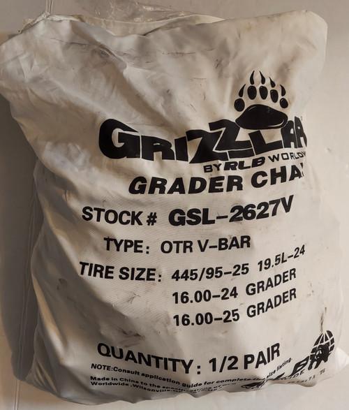 Grizzlar GSL-2627V Grader Scraper and Heavy Equipment Type OTR Ladder V-Bar Tire Chains 16.00-24 16.00-25