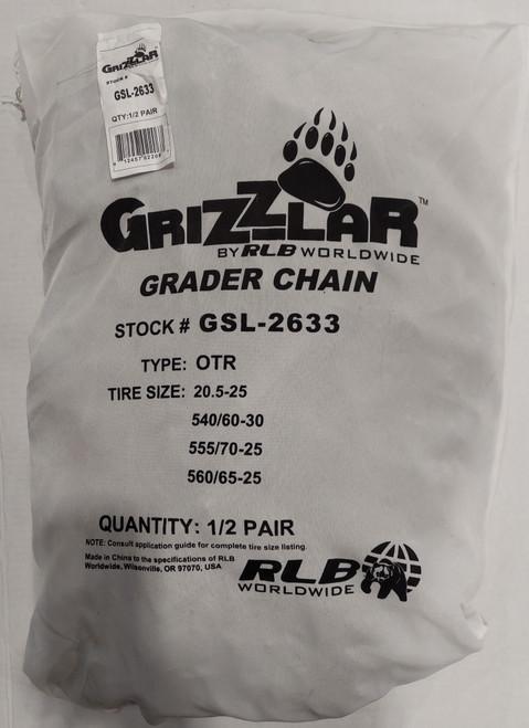 Grizzlar GSL-2633 Grader Scraper and Heavy Equipment Type OTR Ladder Tire Chains 20.5-25 540/60-30