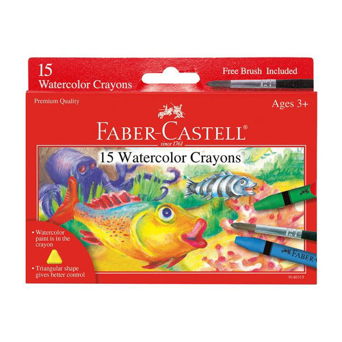 Watercolor Crayons- 15 Count w/Paint Brush