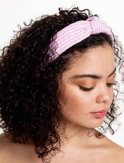 Top Knot Seersucker Headband