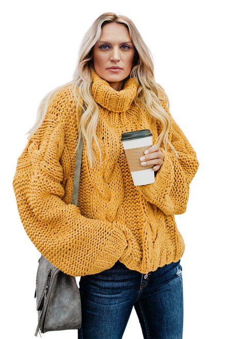 Yellow Cuddle Weather Cable Knit Turtleneck