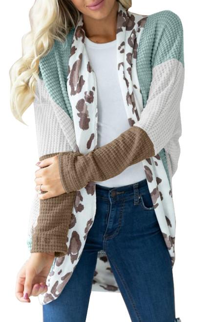 Leopard Waffle Knit Cardigan