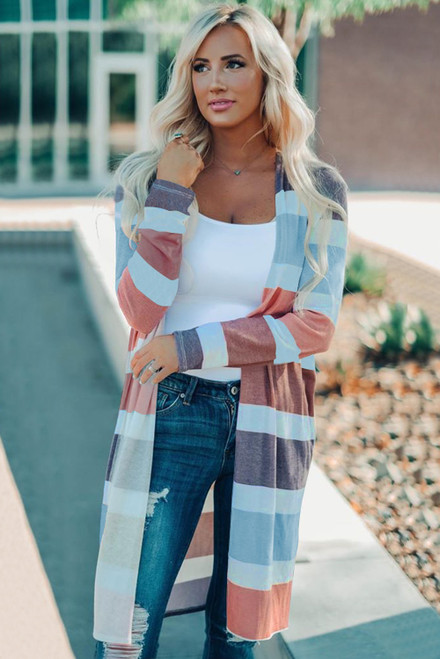 Multi Color Stripe Open Cardigan