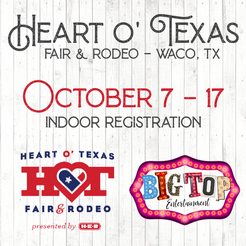 Indoor Registration - Waco, TX - Thursday, October 7 - Sunday, October 17, 2021 - Extraco Events Center - Vendor Registration
