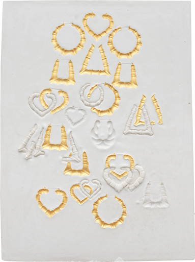 lakela brown composition with round earrings heart earrings and bamboo earrings with fifteen gold impressions