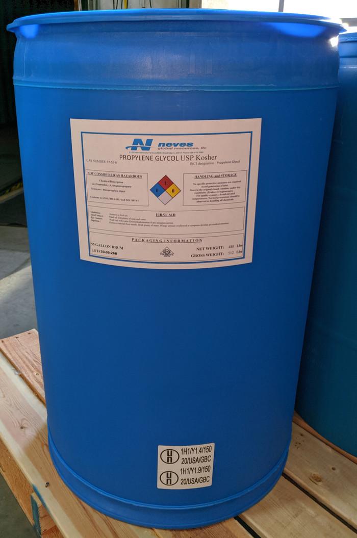 USP Kosher Propylene Glycol ($1.24/lb for 55 gallon POLY drum 480# net)
