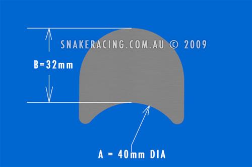 40mm Tube Tab x 32mm No Hole