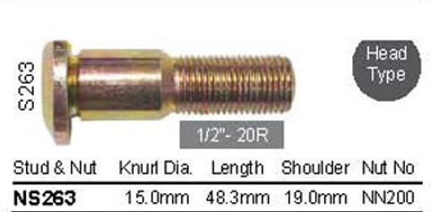 """Wheel Stud 1/2"""" x 48.3mm - osc - WS13-S263"""