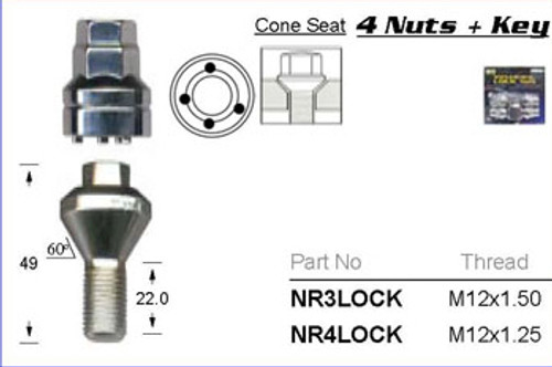 M12 x 1.50 Chrome Lock Nut - osc - WN36-NR3LOCK