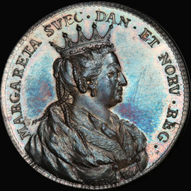 MS65 1728 Sweden Margaret I Silver Medal lovely toned