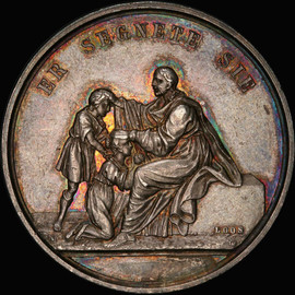 SP61 GERMANY Jesus Blesses Children Silver medal by Loos beautiful toning