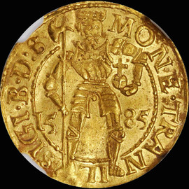 MS63 1585 TRANSYLVANIA Sigismund Bathori Gold Ducat, Hermannstadt Mint.