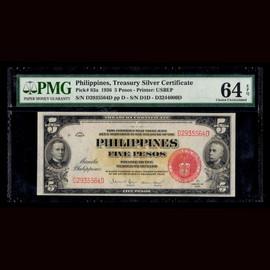 Choice Unc 64 EPQ 1936 PHILIPPINES Treasury of the Philippines 5 Pesos P-83a