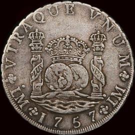 XF40 PERU 1757-LM JM. Lima Mint Ferdinand VI. 8 Reales