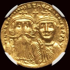 MS AD 610-641 Byzantine Heraclius and Heraclius Constantine AV solidus