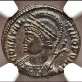 MS 4/5 - 4/5 AD 330-340 Roman Constantinople Commemorative  BI nummus (17mm, 3.16 gm, 12h)