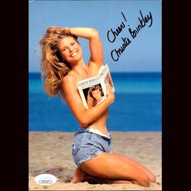 Beautiful Model Christie Brinkley autograped 6x8.5 inches postcard JSA CERTIFIED