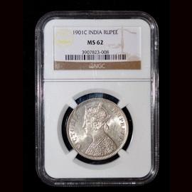 MS62 1901 (C) British India Queen Victoria silver 1 Rupee, Calcutta Mint