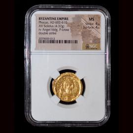 MS 4/5 - 4/5 (AD 602-610) Byzantine Phocas AV solidus (22mm, 4.37 gm, 7h)