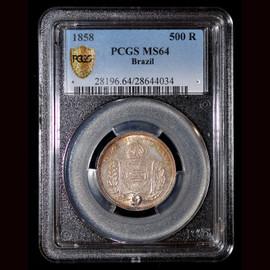 MS64 1858 Brazil Silver 500 Reis