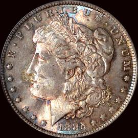 MS65 1885-O MORGAN SILVER DOLLAR beautiful toning both sides!