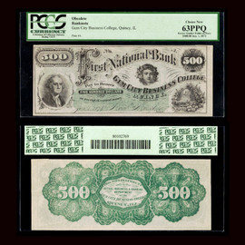 MS63 First National Bank Gem City Business College Quincy Illinois Error Note