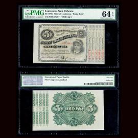 "64 EPQ 1870 State of Louisiana ""Baby Bond"" Five Dollars - 5 Bonds attached"