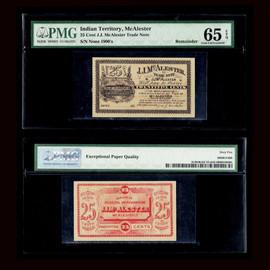 65 1900's J.J. McAlester - OKLAHOMA (Indian Territory) Merchant Scrip 25 cents