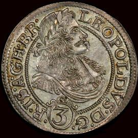 MS64 1670 AUSTRIA Leopold I Silver 3 kreuzer, Breslau, PCGS highest grade