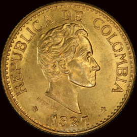 """MS64 1927 Colombia Republic gold """"MFDFLLIN"""" 5 Pesos"""