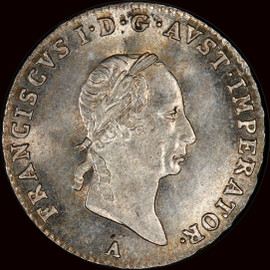 MS65 1829-A  AUSTRIA Francis I Silver 3 kreuzer, Vienna mint - highest and only 1 graded