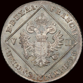 MS63 1802-B AUSTRIA Franz II Silver 7 kreuzer, highest and only 1 Graded by PCGS