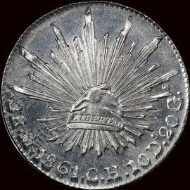 MS64 1861-Mo CH Mexico Silver 2 Reales Blazing white prooflike