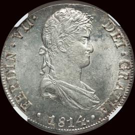 MS63  1814 LM-JP Peru Ferdinand VII Silver 8 Reales
