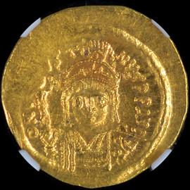MS 4/5 - 4/5 (AD 565-578) Byzantine Justin II AV solidus (22mm, 4.48 gm, 6h)