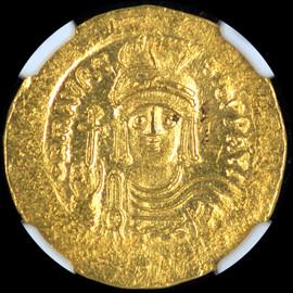 MS 4/5 4/5  (AD 582-602) Byzantine Maurice Tiberius AV solidus (21mm, 4.48 gm, 7h)