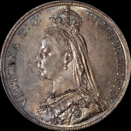 MS63 1887 Great Britain Queen Victoria Silver Crown toned