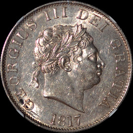 """MS61 1817 Great Britain George III """"Small Bust"""" 1/2 Crown"""