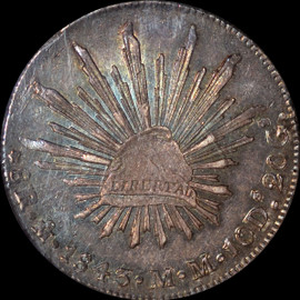 MS63 1843 MO MM Mexico 8 Reales toned