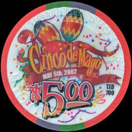 Limited edition 2002 ALADDIN Cinco de Mayo $5 Casino Chip Las Vegas Nevada
