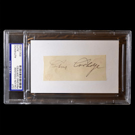 Certified 30th US President Calvin Coolidge Signature Autograph Cut PSA Slabbed