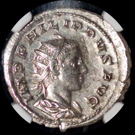 MS AD 247-249  Roman Empire Philip II, Silver Double-Denarius