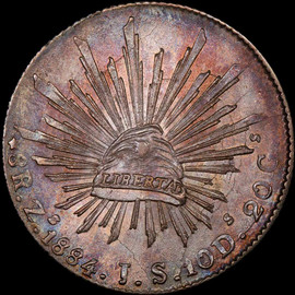 MS65 1884 Zs JS Mexico 8 Reales beautiful toning!!