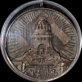 SP63 1934 Third Reich Germany Saxony Leipzig Monument Silver Shooting Medal  Top Grade!
