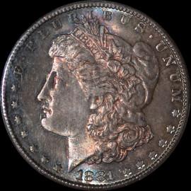MS65 1881-S Morgan Dollar Amazing Rainbow toning!!