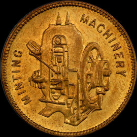 MS64 Great Britain Birmingham brass Taylor & Challen Minting Machinery Token Top Grade!
