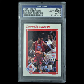 Certified 1991 Hoops David Robinson Signed Basketball trading card Slabbed by PSA