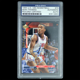 Certified 1994 Upper Deck Isiah Thomas Signed Basketball trading card Slabbed by PSA